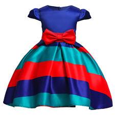 Childrens Kids Girls Striped Formal Fancy Princess Party Pageant Dress k49