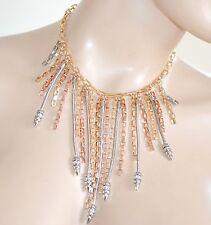 COLLANA donna ARGENTO ORO ROSA strass collarino collier elegante cerimonia  Z16 56eb4ca9eda