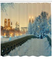 Winter Shower Curtain Central Park New York Print for Bathroom