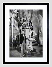 PHOTOGRAPH BLACK WHITE SCREEN DECO DANCERS SKYSCRAPER FRAMED ART PRINT B12X7556