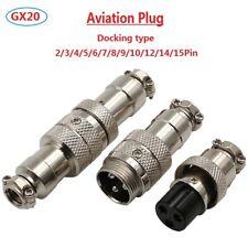GX20 Aviation Plug Male+Female Docking Metal Connector 2/3/4/5/6/7/8/9/10-15Pin