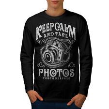 Fotógrafo calma Moda Hombre Manga Larga wellcoda Camiseta Nuevo |