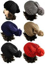 Winter Warm Mens Womens Slouchy Beanie Cable Knit  Big POM POM Crochet hat