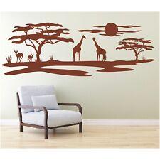 Landschaft Wandtattoo  Giraffen Afrika Sonne Affenbrotbaum Savanne Wandaufkleber