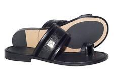Giampieronicola 5437 Italian mens black pus-in- toe lizard print sandals