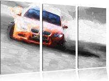 eleganter sportlicher BMW  3-Teiler Leinwandbild Wanddeko Kunstdruck