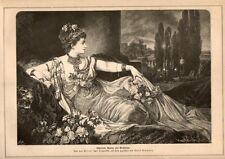 Stampa antica CHARLOTTE WOLTER attrice nel ruolo di Messalina 1876 Old print