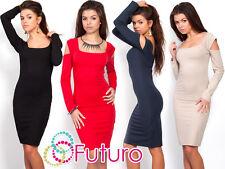 SEXY & elegante donna abito collo quadrato MAGLIA MANICA LUNGA DIMENSIONE 8-12