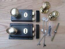 BLACK RIM LOCK + BRASS RIM KNOB SET - Old vintage retro style door rim handles
