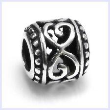 STR Silver Infinity Love Antique Filigree Heart Bead f/ European Charm Bracelet