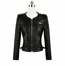 Women's Black Moto Style Genuine Leather Motorcycle Slim fit Biker Jacket -WJ299