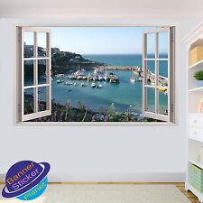 NEWQUAY HARBOUR CORNWALL 3D WINDOW WALL STICKER ART ROOM DECOR DECAL MURAL ZP8
