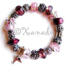 Hummingbird Flower Garden European Charm Bracelet With Pink Purple Glass Beads