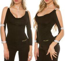 Sexy Damen Longsleeve Shirt Arm offen Strass Top schwarz S 34 M 36 L 38 XL 40