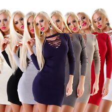 11290 Sexy Damen Feinstrick Pullover Langarm Longpullover Strickkleid Minikleid
