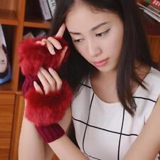 Women Faux Rabbit Fur Hand Wrist Winter Warmer Knitted Fingerless Glove Mitten Y
