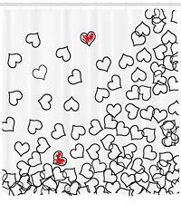 Black White Shower Curtain Wedding Heart Shape Print for Bathroom