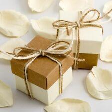 KRAFT AND IVORY SQUARE BOX & LID WEDDING FAVOUR BOX-CHOOSE QUANTITY