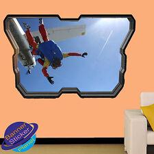 PARACADUTISMO JUMP piano Arte 3D Finestra Adesivo Parete Arte Room Decor Decalcomania Murale ZT8