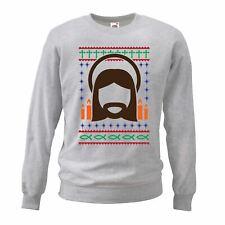 Adults Unisex Nordic Christian Catholic Christmas Sweatshirt Grey Novelty