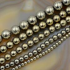 """Natural Pyrite Hematite Round Gemstone Beads 15.5"""" 2mm 3mm 4mm 6mm 8mm 10mm 12mm"""