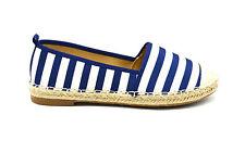 SHP93 251 * Espadrilles Rayures Bicolore Bout et Semelle Effet Paille Bleu Mode
