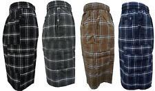 KARIZMA Mens Plaid Checker Cargo Shorts Elastic Waist
