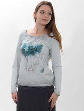 20% camicia maglietta donna di simclan TGL 42 44 grigio petrolio stampato
