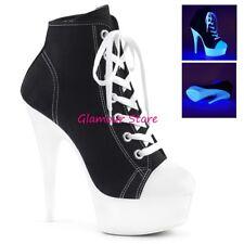 Sexy SCARPE FLUORESCENTI tacco 15 sneaker sandali dal 35 al 42 NERO/BIANCO club
