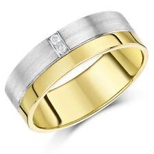 9ct Gold Alianza Dos Colores Diamante 7mm Banda
