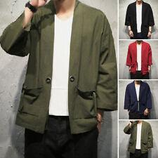 Vintage Suéter Abrigo Kimono Japonés Estilo Yukata Chaqueta Informal Hombre Home