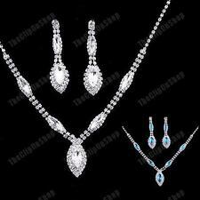 AUSTRIAN CRYSTAL aqua blue NECKLACE&EARRINGS art deco GLASS silver rhinestone