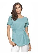 Heine Bluse Blusenshirt Longshirt Shirt Mint Wickeloptik Gr. 36-46 Blau Damen