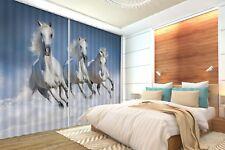 3D Three White Horses 4 Blockout Photo Curtain Curtains Drapes Fabric Window CA