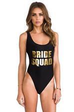BRIDE SQUAD Pale-Gold Font Print Bikini Swimwear Bachelorette Party Bathing Suit