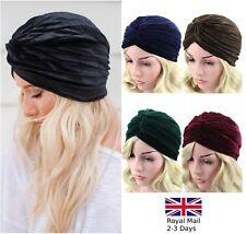 Velvet Damas Elástico Turbante Headwrap Chemo Bandana Hijab Plisado Tapa De India