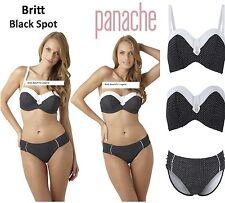 -PANACHE BRITT U/W BANDEAU  50'S STYLE BIKINI BRA-GATHERED-PANT-SET-BLACK-SPOT