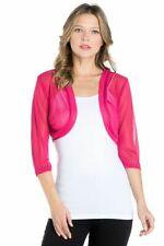 Fashion Secrets Women`s Magenta Fuchsia 3/4 Chiffon Bolero Shrug Cardigan Jacket