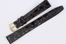 FORTIS Uhrenarmband 14mm Dunkelbraun Kalbsleder mit Kroko-Narbung Swiss Made