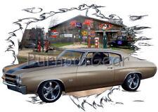 1970 Gold Chevy Chevelle SS Custom Hot Rod Garage T-Shirt 70 Muscle Car Tees