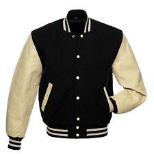 Black Cream Varsity Jacket Wool Real Leather Sleeves Rib Cream & Black