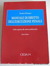 PAOLO DI RONZA MANUALE DELL'ESECUZIONE PENALE CEDAM 2000 AUTOGRAFATO