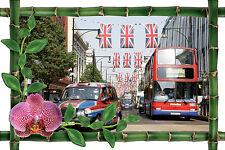 Wandsticker schein auge deko bambus Taxi Bus Anglais ref 1016