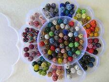 10pcs x 10mm Shamballa Disco Beads Clay Resin Rhinestone In 32 Colours Bracelets