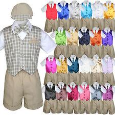 Baby Boy Toddler Formal Khaki Vest Shorts Check Suit Extra Necktie 7pc Set S-4T