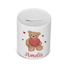 PERSONALISED Ceramic Childrens money / saving box in Love Teddy Bear Design Gift