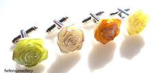GORGEOUS FLOWER ROSE CUFFLINKS - FREE POSTAGE + FREE ORGANZA BAG