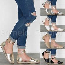 Femme Femmes enrouler autour de Clous Bride Cheville Été Espadrilles Sandales Chaussures