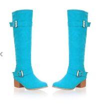 bottes hiver confortable femme talon 5 cm comme cuir bleu jaune vert 8941