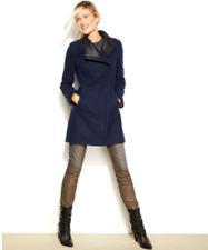 $370 CALVIN KLEIN Womens 0X 1X 2X  INDIGO BLUE Wool Coat Asymmetrical Zipper